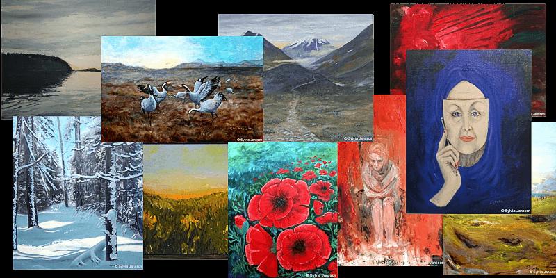 Sylvia Jansson målar i olja och akryl.